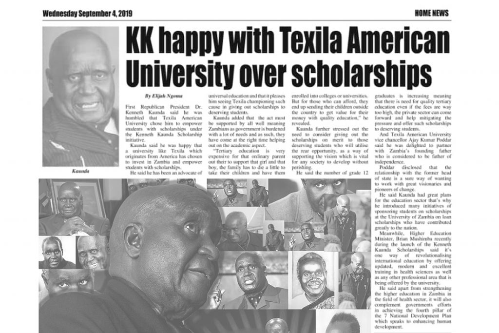 kenneth kaunda scholarship news