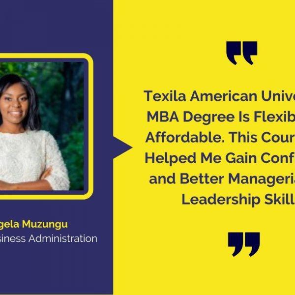 Texila American University's MBA degree student Ms. Angela Muzungu