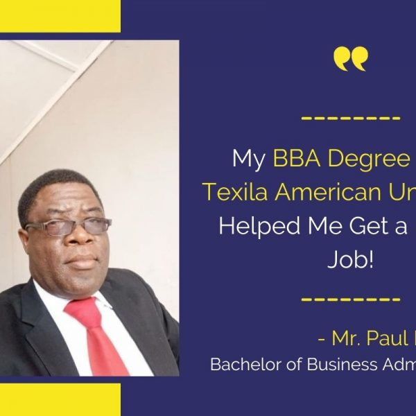Texila BBA student Mr. Paul Mukuma